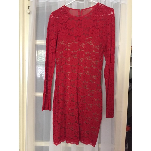 Express Dresses & Skirts - Express red lace body con mini dress